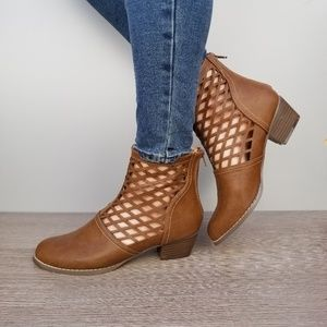 Shoes - Brown Cut out Ankle Perforated Spring Boots-B